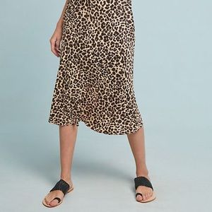 Anthropologie Skirts - Anthropologie Bias Satin Cheetah Midi Skirt Size 2